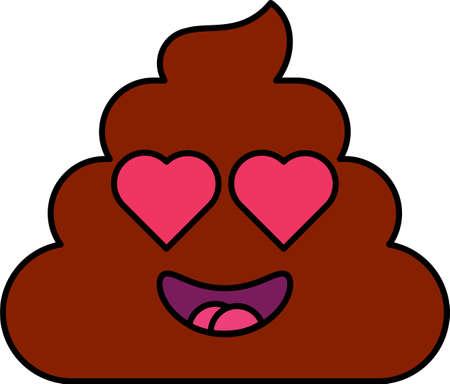 Love, romantic dung emoji vector illustration. Heart shape eyes shit emoticon, social media face