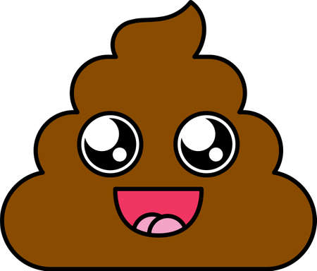 Charmed shit emoji vector illustration. Poop sticker, emotion cartoon emoticon with open mouth