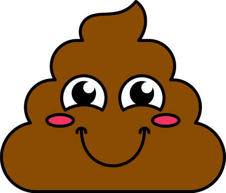 Blushing poop emoji vector illustration. Shy, happy emoticon, timid cartoon turd Brown sticker
