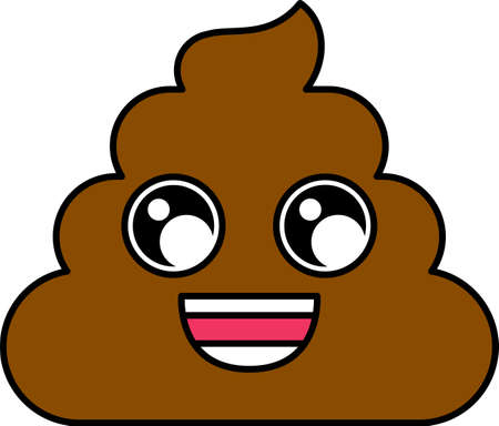 Cheerful poop emoji vector illustration. Wide smile dung emoticon, social media cartoon sticker Illustration