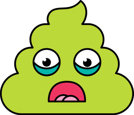 Shocked, scared poop emoji vector illustration. Fear emoticon, green social media cartoon dung Standard-Bild - 122041474