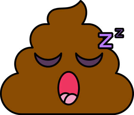 Sleeping emoji vector illustration. Bored, tired poop emoticon. Feeling, emotion cartoon face