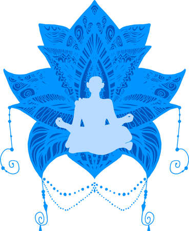 Yoga, spiritual therapy illustration. Fitness, yogi meditating flat silhouette. Oriental culture