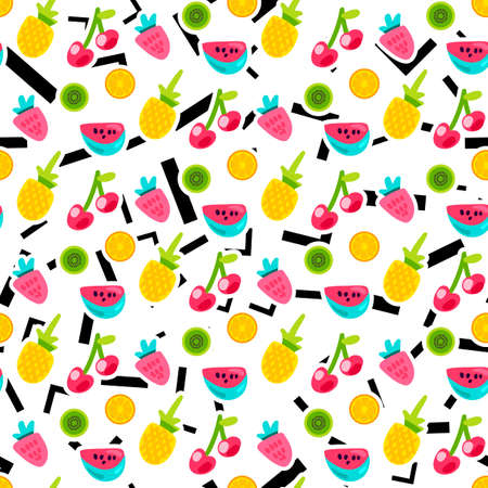 Color fruits seamless vector pattern. Doodle cherry, kiwi, orange with lines, angles background Vektorové ilustrace
