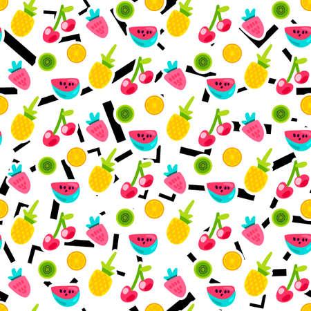 Modèle vectorielle continue de fruits de couleur. Doodle cerise, kiwi, orange avec des lignes, fond d'angles Vecteurs