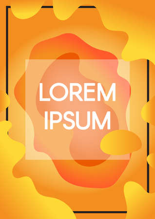 Abstract fluid shapes orange background with text frame borders. Vertical banner with copyspace