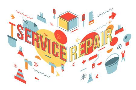 Service repair word concept banner design. Maintenance workshop perspective view illustration