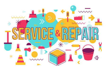 Repair shop word concept banner design. Maintenance service vector illustration with typography