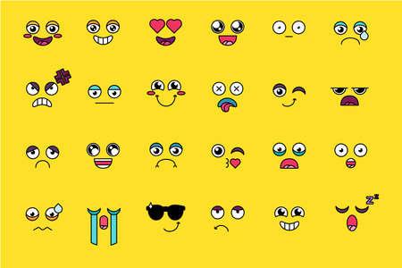 Funny, cute emoji sticker set. Yellow emoticon, social media cartoon smile pack. Emotion expression
