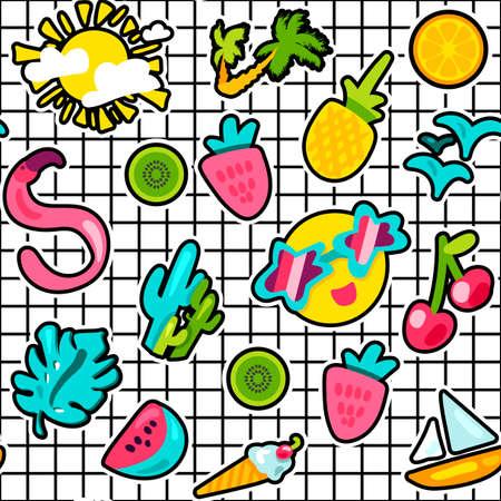 Pegatinas de verano color patrón de vector transparente. Vacaciones, pegatinas de dibujos animados de vacaciones sobre fondo de cuadrícula
