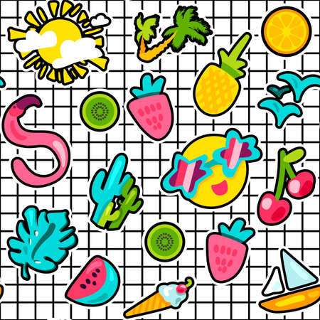 Summer stickers color seamless vector pattern. Holiday, vacation cartoon stickers on grid background