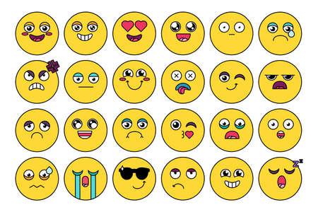Comic, cute emoji sticker pack. Funny emoticon, social media cartoon head set. Mood expression