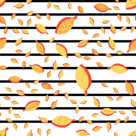 Orange stylized leaves color seamless vector pattern. Flat autumn foliage fall striped background