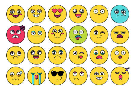 Comic, cute emoji sticker pack. Funny emoticon, social media cartoon head set. Mood expression