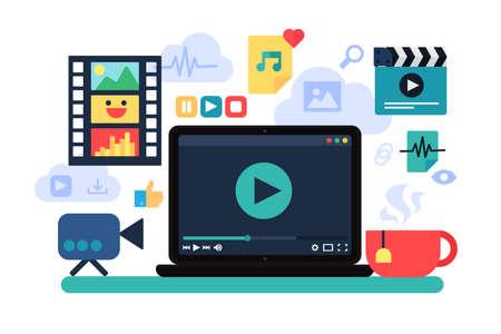 Cine en casa, ilustración vectorial de recreación. Ocio en Internet, cine online. Acogedor descanso en casa Ilustración de vector