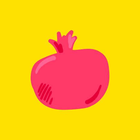 Pomegranate fruit flat vector illustration