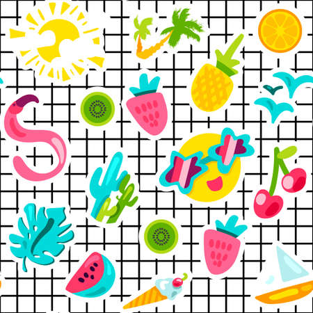 Summer color seamless vector pattern. Holiday accessories. Vacation stickers on grid background