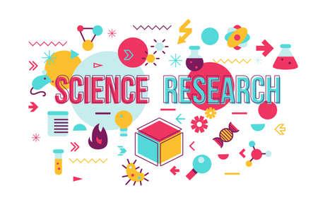 과학 실험 단어 개념 배너 디자인입니다. 아이콘으로 생화학 연구 벡터 일러스트 레이 션