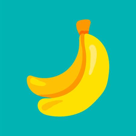 Banana fruit flat vector illustration. Exotic fresh, tropical fruit cartoon clipart, patch