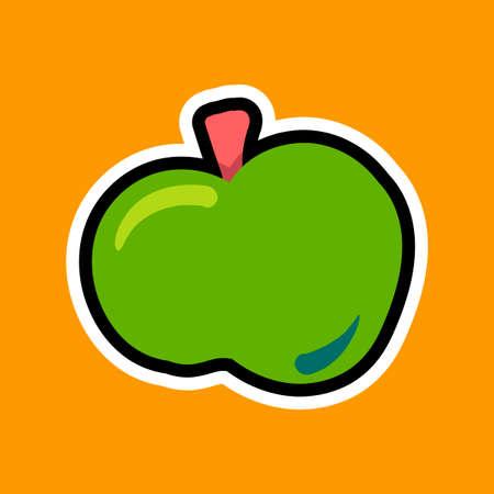 Apple flat vector illustration. Fresh fruit cartoon clipart, patch isolated on orange background