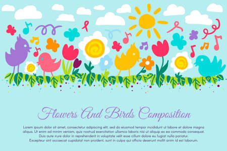 Kid Color Flower and Bird Vector Illustration. Cute Colorful Summer Picture with Floral Composition, Butterfly, Sky and Sun. Beautiful Children Design Banner for Print. Flat Cartoon Drawing
