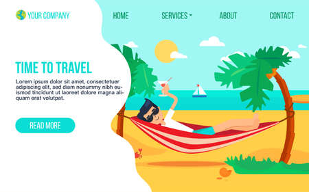 Tourism agency flat landing page template. Holiday trip to paradise island. Exotic resort homepage
