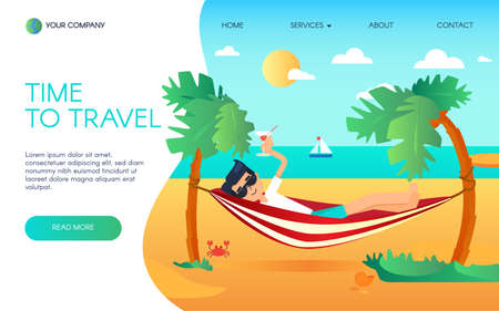Happy Man in Summer Vacation on Sea Landing Page. Tourist Relax in Hammock with Cocktail on Seaside Ocean. Time to Tropical Travel for Website or Web Page Flat Cartoon Vector Illustration
