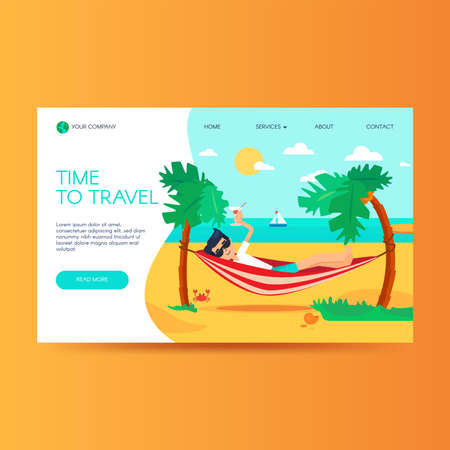 Travel agency website homepage template. Summer vacation, tropical resort. Tourism landing page 向量圖像