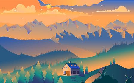 House in mountains minimalist vector illustration. Picturesque sunset, sun rays on peaks, trees