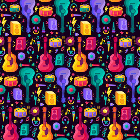 Colorful Musical Instrument Flat Seamless Pattern. Vintage Design on Black Background Flyer and Poster for Event or Disco. Modern Creative Sketch for Print. Music Cartoon Texture Vector Illustration