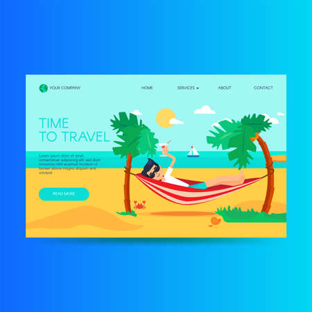 Travel agency website homepage template. Summer vacation, tropical resort. Tourism landing page Stock Illustratie