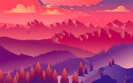 Mountains sunset minimalistic vector illustration. Majestic purple evening in foggy valley