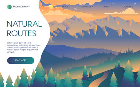 Mountain trips vector landing page template. Trekking, hiking routes promo webpage with text space