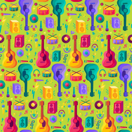Colorful Musical Instrument Flat Seamless Pattern. Vintage Design on Green Background Flyer and Poster for Event or Disco. Modern Creative Sketch for Print. Music Cartoon Texture Vector Illustration Ilustrace