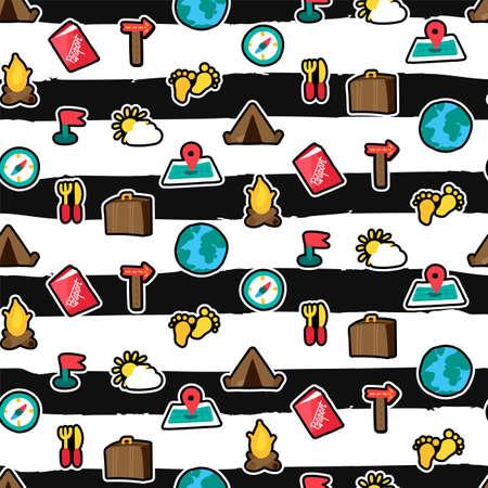 Camping seamless pattern. Trip, travel textile. Hiking stickers brushstrokes striped background Ilustração