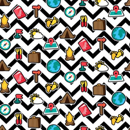 Vacation travel seamless pattern. Tourism. Hiking, camping, trip outline stickers zigzag background Ilustração