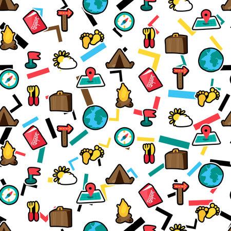Vacation travel seamless cartoon vector pattern. Trip, tourism. Hiking, camping stickers background Ilustração