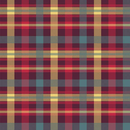 Plaid red color seamless vector pattern. Flannel fabric texture. Checkered textile background