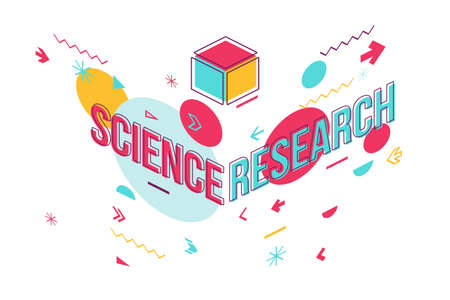 Scientific study word concept banner design. Science research perspective view illustration