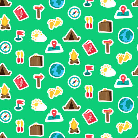 Travel color seamless vector pattern. Tourism. Hiking, camping, trip stickers on green background Ilustração