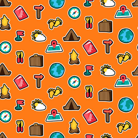 Traveling, camping stickers seamless vector pattern. Trip, tourism. Hiking patches orange background
