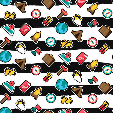 Camping, traveling seamless pattern. Trip. Hiking stickers on brushstrokes black striped background