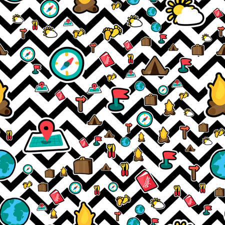 Camping seamless vector pattern. Vacation. Tourism. Hiking, camping, trip stickers zigzag background