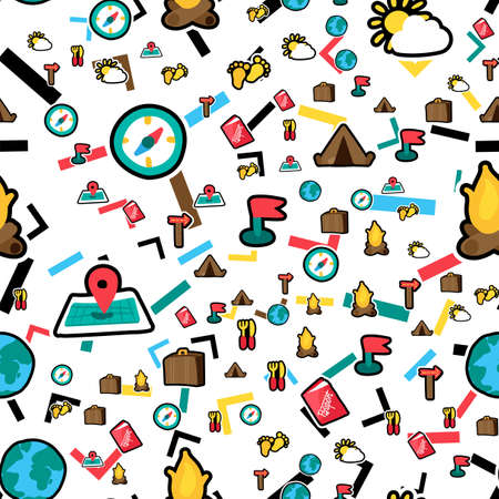 Vacation travel stickers seamless color vector pattern. Trip, tourism. Hiking, camping attributes background Ilustração
