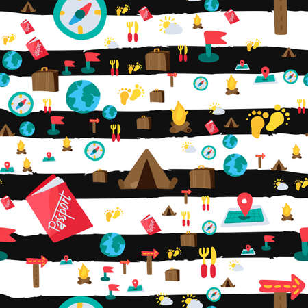 Travel seamless color vector pattern. Summer vacation. Trip, hiking, camping striped background Ilustração
