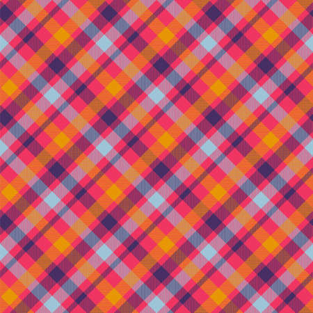 Tartan orange color seamless vector pattern. T-shirt fabric texture. Flannel textile background Illustration