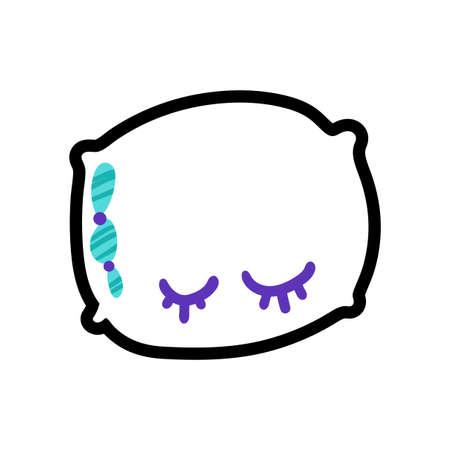 Pillow stitched frame illustration. Good night, sweet dreams sticker, patch. Dash line flat drawing Illusztráció