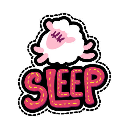 Sheep stitched frame illustration. Sleep lettering flat sticker. Dash line sleeping lamb drawing