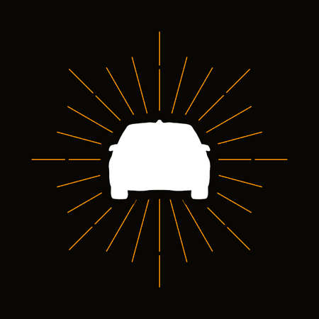 Retro automobile, sedan silhouette. Transportation industry symbol. Car maintenance service logo Çizim