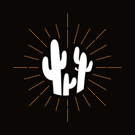Retro prickly cacti silhouette. Mexican flora, exotic houseplant symbol. Cactus, desert barbed plant Stok Fotoğraf - 124891116